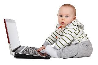 baby at computer